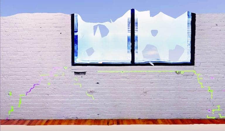 Détection automatique des fissures dans le mur.
