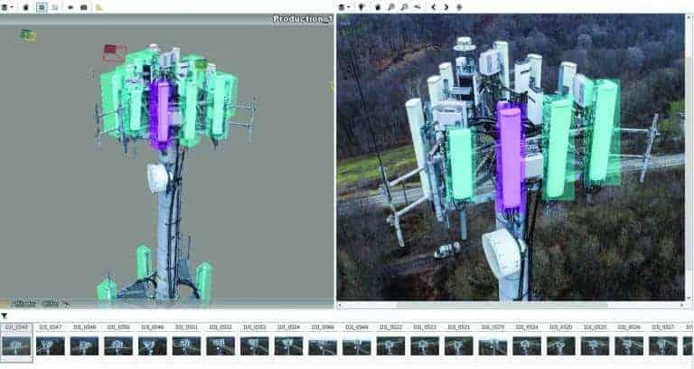 Détection automatique d'antennes de tour de télécommunication dans un maillage de réalité 3D, généré à partir d'images prises à partir d'un drone.