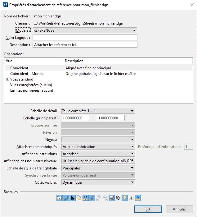 """Génération CONNECT Edition Génération V8i MicroStation T&A MicroStation Trucs et Astuces  Comment éviter la boite de spécification des références en utilisant la commande """"RF="""""""